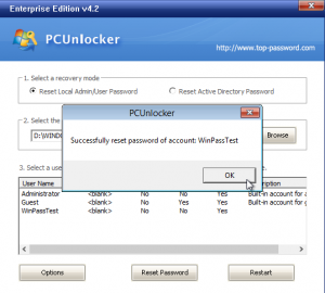 reset windows password pc unlocker